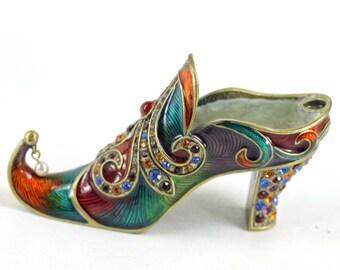 Vintage Enameled Metal Shoe with Rhinestones Miniature Collectible