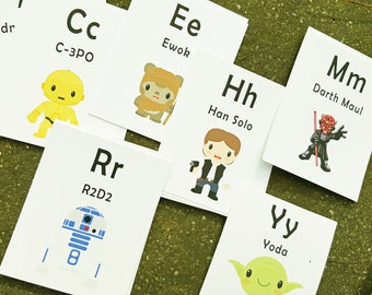 Flash Cards, Star Wars, Alphabet Cards, Learning Toys, Educational Toys, Nursery Decor, Alphabet Wall Cards, Preschool/Kindergarten Learning