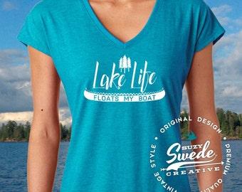 Lake Life, Lake Shirt Ladies V-Neck T-Shirt, Lake Life, Vacation Shirt, Boating Shirt, Beach Shirt women's v-neck