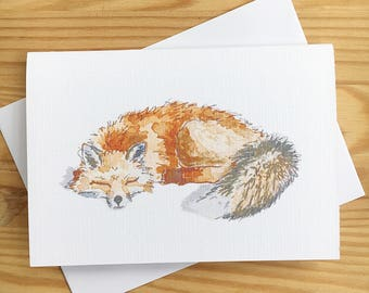 Sleeping fox blank card, cute animal lover birthday