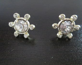 Wow 1920's Art Nouveau style silver flower screw back earrings with crystal glass accents