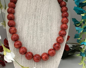 Red Sponge Coral Necklace