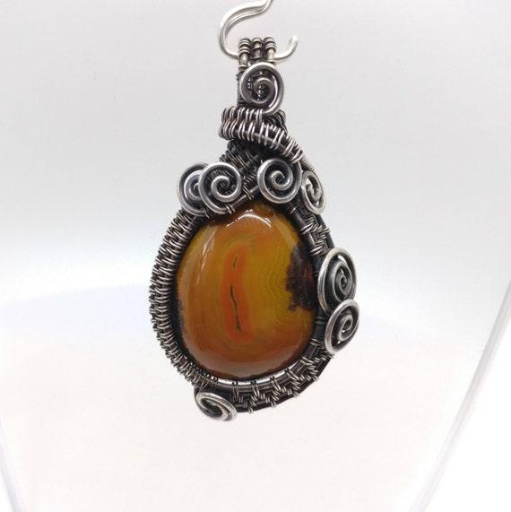 Carnelian Stone Pendant | Oxidized Sterling Silver | Orange Gemstone Pendant | Zhanguo Warring States Agate | Heady Pendants | Chinese Agate