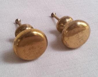Set of 2 Vintage Solid Brass Metal Drawer Knobs, Pulls, Round Dome Shape Brass Knobs, 1-1/4 Inch Diameter Drawer Knob Handles, 1960s Vintage