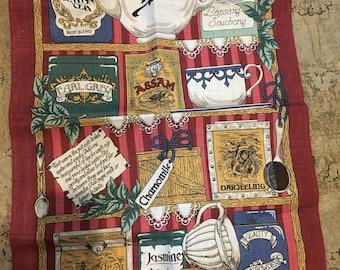 Vintage tea  towel pure linen by ulster types of tea jasmine  earl grey