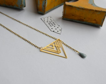 small geometric necklace drop blue