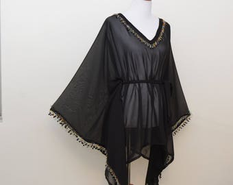 Black sheer kimono, classic black robe, black cardigan, fringe trim robe, flowy cardigan, black chiffon tunic, black poncho, sheer cover up