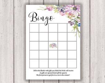 BRIDAL SHOWER GAME Bridal Bingo Printable Bridal Shower Game Boho Chic Bridal Asters Violets Wedding Purple diy, B300
