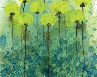 Watercolor Painting: Watercolor Flower Painting -- Art Print --  Underwater Flowers -- Abstract Flowers -- Yellow Flowers -- 8x10