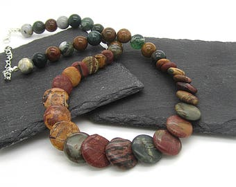 Chunky Jasper Stone Necklace, Earth Tone Real Stone Necklace, Multi Colour Bib Style Statement Necklace, Natural Stone Autumn Accessories,
