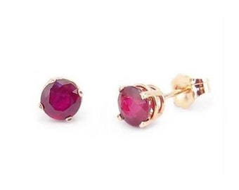 14K Rose Gold Ruby Earrings - Genuine Red Ruby Gemstone Stud Earrings - 1.25ct 5mm Round Studs - July Birthstone - Handcrafted Gift for Her