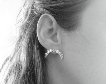 MOON-Sterling Silver Earlobes Earrings