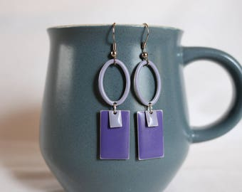 Lilac and Pantone Geometric Earrings ~ Cosmic Collection
