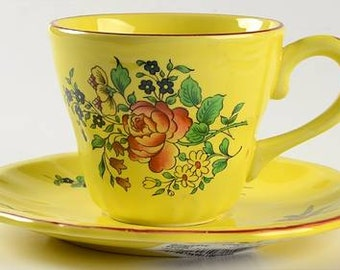 Flat Cup & Saucer Set in Old Strasbourg (Yellow Background,Roses) by Luneville