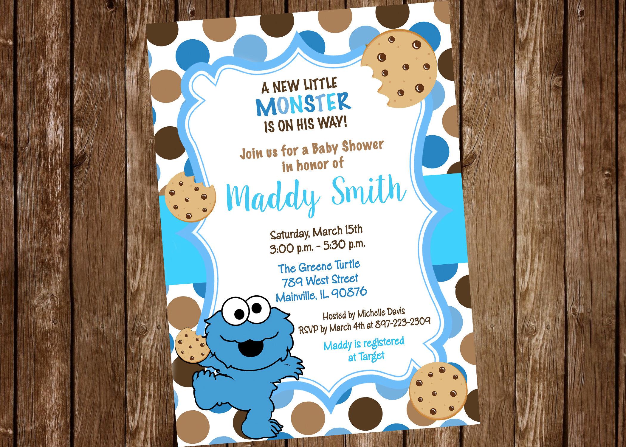 Cookie Monster Sesame Street Baby Shower Invitation Digital