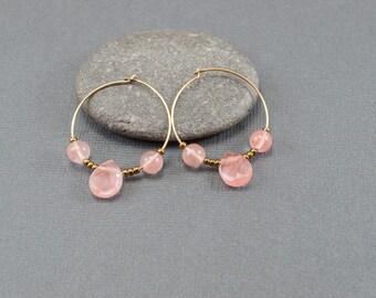 Hoop Earrings, Gold Hoop Earrings, Pink and Gold Hoop Earrings, Rose Pink Earrings, Beaded Hoop Earrings, Pink Hoop Earrings, Gift for Her