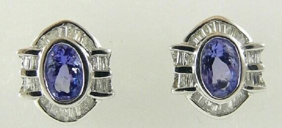 Tanzanite 0.99ct and Diamonds 0.41ct Earrings 18k White Gold