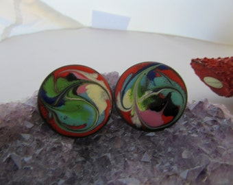 Vintage Copper Enamel Abstract Color Clip On Earrings