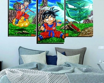 Dragon Ball triptic PAINTING handmade, OIL on canabas, original  paint, 3 pieces, your favorite anime,