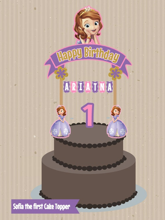 Sofia the First Cake Topper Banderin para torta Princess Sofia
