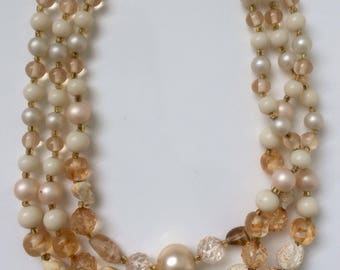 Vintage Style Rose/Pearl/Natural Beaded 3-Strand Necklace