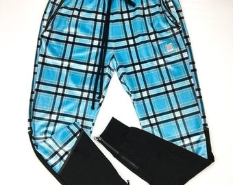 "50% OFF SALE One of a kind - BLUE Plaid Pathwork Pants ( 32-34"" Waist )"