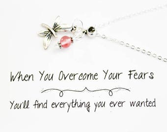 Dragonfly Charm Necklace - Mantra Necklace - Overcome Your Fears Motivational Necklace -SCC887