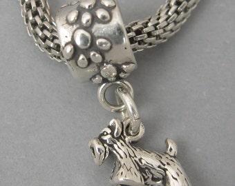 Sterling 925 European Dangle Bead Charm 3D Scotty SCOTTISH TERRIER Dog 3540