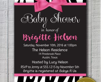 Baby Shower Invite, Baby shower for girls printable invitation for baby shower, baby coming up! Zebra themed baby shower invitations