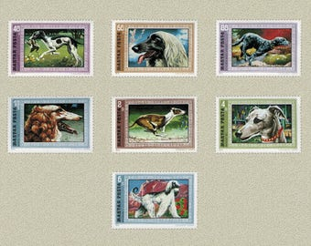 Seven Dog Postage Stamps - 1972 - Hungary - Altered Books, Artist Trading Cards, Mixed Media, Collage