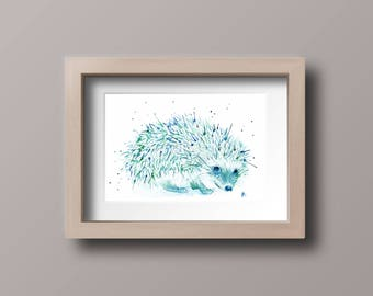 Watercolor Hedgehog Art Print, Wall Decor, Animal Wall Art, Hedgie Painting