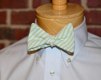 Seersucker Bow Tie~Mens Self Tie Bow Tie~Lime Green Seersucker Stripe~Anniversary Gift~Wedding Tie~HoBo Ties~Cotton Bow Tie~Mens Gift