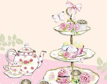 TEA PARTY NAPKINS, Afternoon Tea Napkins, Tea Napkins, Tea Luncheon Napkins, Tea Time Napkins, Decoupage Napkins, Tea Party, British Napkins