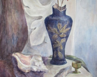 ORIGINAL Watercolor PAINTING Still Life with Vase and sink