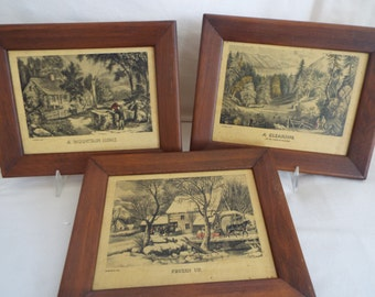 3 Currier and Ives framed lithographs