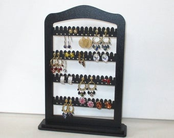 jewelry rack, earring organizer, Jewellery,  earring stand,  display, Earring  holder , BLACK wood with stand base