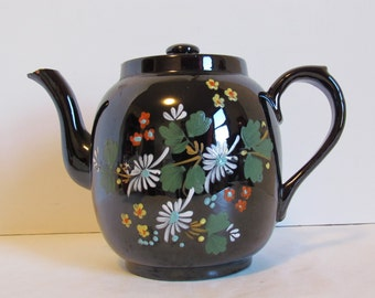 Vintage Brown Floral English Teapot Tea Pot Hand Painted Redware Ceramic Collectible