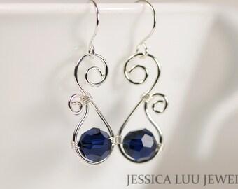 Dark Blue Swarovski Earrings Wire Wrapped Jewelry Handmade Sterling Silver Jewelry Handmade Swarovski Crystal Earrings Dark Indigo