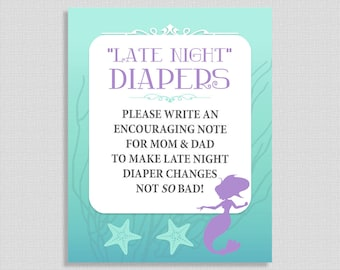 Late Night Diapers Sign, Mermaid Shower Sign, Aqua and Purple, Baby Girl, INSTANT PRINTABLE