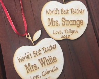 2 Custom Ornaments Holiday, Teacher Gifts, 2 Laser Engraved Ornaments