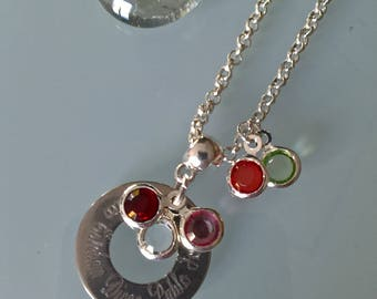 Birthstone necklace with the color of the birth month stone Locket engraved with the name (s)