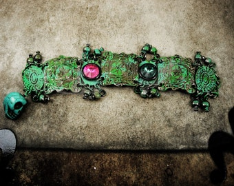 Voodoo Tribal jeweled bracelet distressed bohemian patina and rhinestones with charms