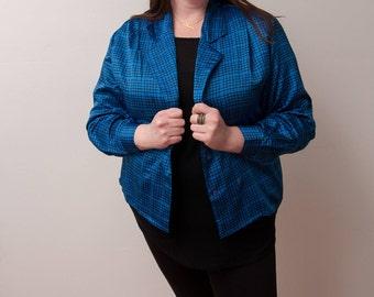 Vintage Oscar de la Renta Blazer - 80s Blazer - Blue and Black Patterned Jacket - 1980s Fashion - Size Large/XLarge - OdlR Jacket for Her