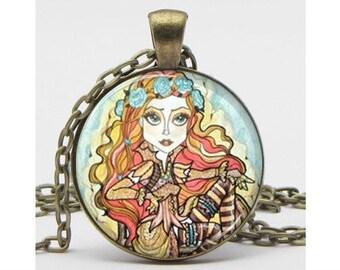 Steampunk Pinup Necklace Fantasy Steampunk Art Pendant Big Eye Pendant