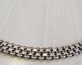 """Great Looking Flexible Sterling Silver Llnk Bracelet  7 3/4"""""""