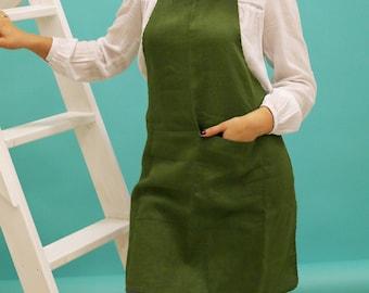 Linen apron women, washed linen apron, natural apron, handmade apron, eco - friendly, blue apron