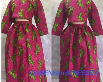 Two piece  pink Ankara long sleeve  crop top and floor length gathered skirt, ankara womens clothing