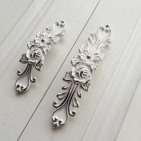Shabby Chic Dresser Drawer Pulls Handles Off White Silver / French Country Kitchen  Cabinet Handle Pull Antique Furniture Hardware From JackAccessories On ...