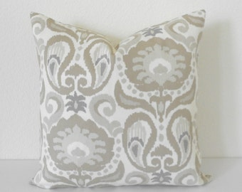 Gray, tan, ivory floral ikat decorative pillow cover