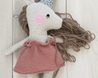 Unicorn plush stuffed animal toy baby doll and child